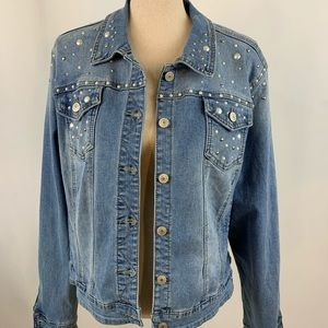 VTG Earl Jean Jacket Bedazzled denim coat large